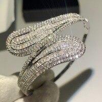 Choucong Роскошные ювелирные изделия 925 пробы серебро т Форма 5A инкрустация кубическим цирконием CZ вечерние браслет из перекрещивающихся элеме
