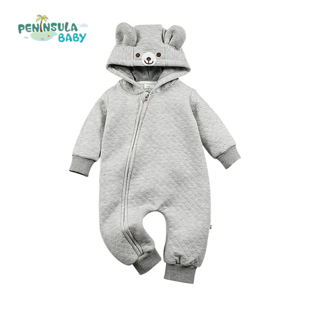 Designer Miúdos Trajes Macacão de Bebê Recém-nascido de Algodão One piece-Grosso Com Capuz Roupas de Inverno Animal Dos Desenhos Animados Do Bebê Do Outono Quente