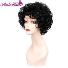 Krótkie peruki z kręconymi włosami syntetyczne włosy czarne brązowe peruka krótka dla kobiet Ombre blond pełna peruka włosy peruka do Cosplay Party Amir włosów