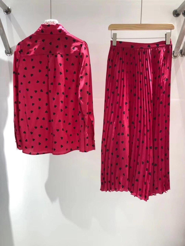 0316 Qualité Et jupe Supérieure 2019 Coeur Demi Shirt Nouvelles De Soie rose En Imprimé Rouge Printemps Mode Forme Costume D'été Dames XxgfwpUf