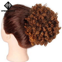 Spring sunshine Ponytail Puff Afro Hair Bun Kanekalon High Kinky Curly Drawstring Short Afro Pony Tail Clip in on Synthetic(China)