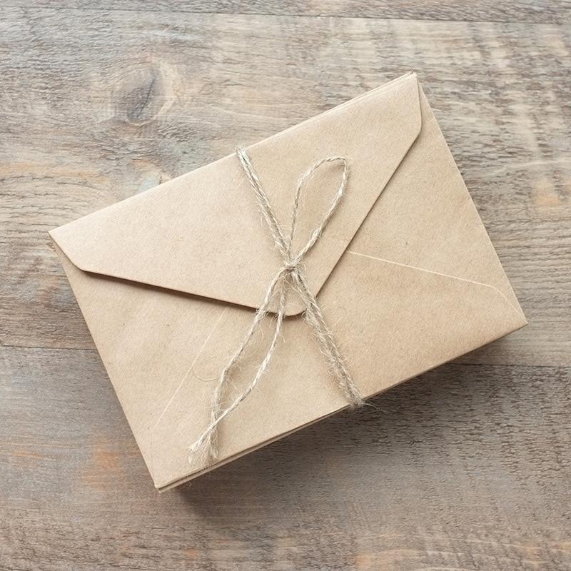 Lot de 50 enveloppes Vintage en papier Kraft vierge, blanc, noir, pour fenêtre, enveloppe d'invitation de mariage, cadeau 3 couleurs