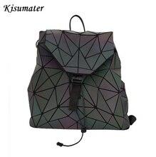 Kisumater Новинка 2017 года световой рюкзак Для женщин геометрический ромбовидная решетка путешествия школьная сумка Серебристые рюкзак бесплатная доставка