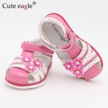 цена на Cute Eagle Summer Girls Orthopedic Sandals Pu Leather Toddler Kids Shoes for Girls Closed Toe Baby Flat Shoes Eur 21-26 New 2019