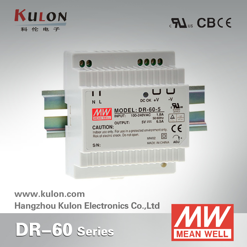 Genuine MEAN WELL DR-60-5 Single Output 6.5A 5V 32.5W DIN rail mounted Meanwell power supply [sumger2] mean well original dr 100 15 15v 6 5a meanwell dr 100 15v 97 5w single output industrial din rail power supply