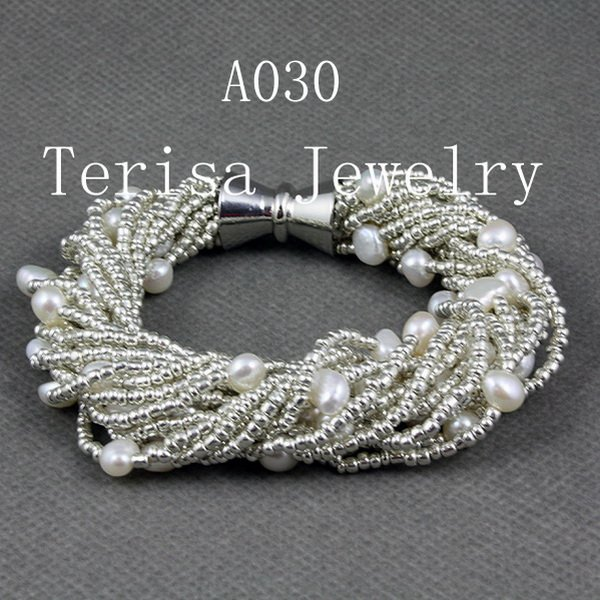 New Free Shipping A030, Grade AAA.Natural Fresh Water Pearls Size:6-7mm.16 String.Color:White color.Vogue Bracelet.1pcs/lot