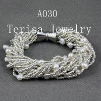 Yeni Ücretsiz Kargo A030, sınıf AAA. Natural Tatlı Su Inciler Boyutu: 6-7mm.16 Dize. Renk: Beyaz renk. Vogue Bracelet.1pcs/lot
