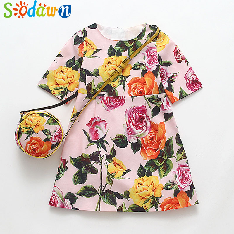 So dawn Childrens Dress 2018 New Summer Europe United States Wind Cotton Flower Pattern+Bag Girl Princess Dress Kids Clothing
