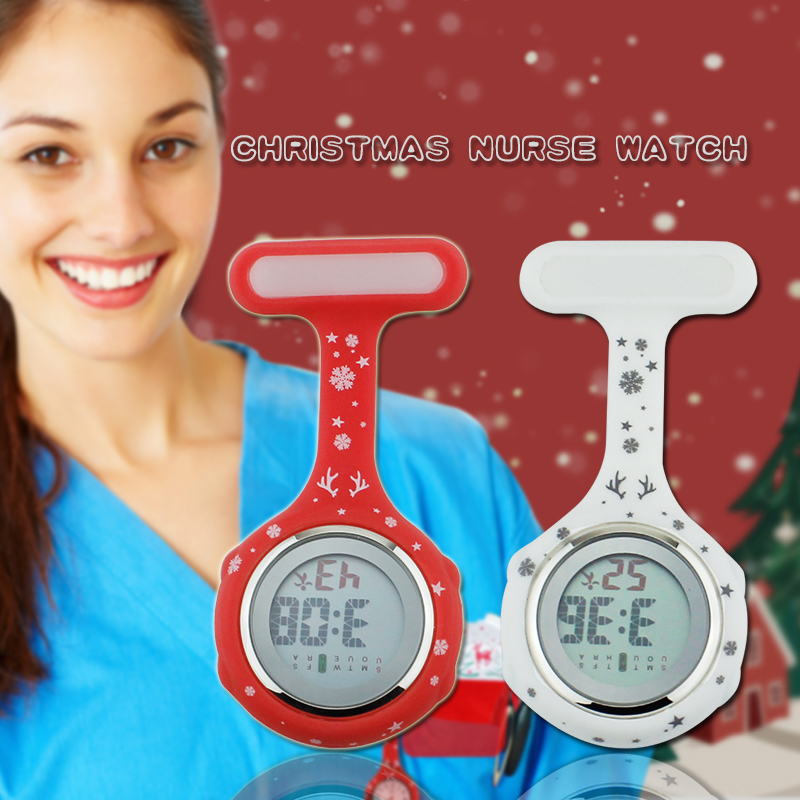 Timberland Digital - Christmas nurse watch silicone medical watch fob brooch pocket watch nurse doctor with clip