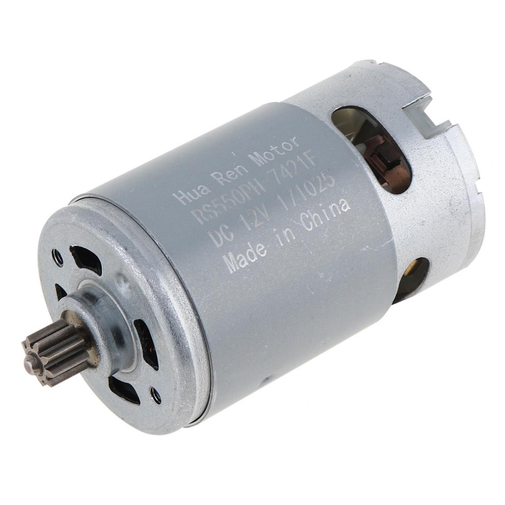 RS550 Metal 12V 19500 RPM DC Motor With Single Speed 9 Teeth And High Torque Gear Box For Electric Drill / Screwdriver