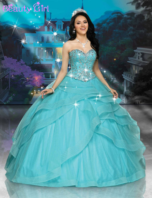 b4dbe69ff5 Attractive Beads Sweetheart Tiered Tulle Ball Gown Quinceanera Dresses Mint  Blue Vestidos De 15 Anos Longo