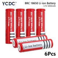 BRC 18650 Batteries 3000mAh 3.7V Rechargeable Cells For Torch Mini Fan 6Pcs for Laser Pen LED Flash light Cell battery holder