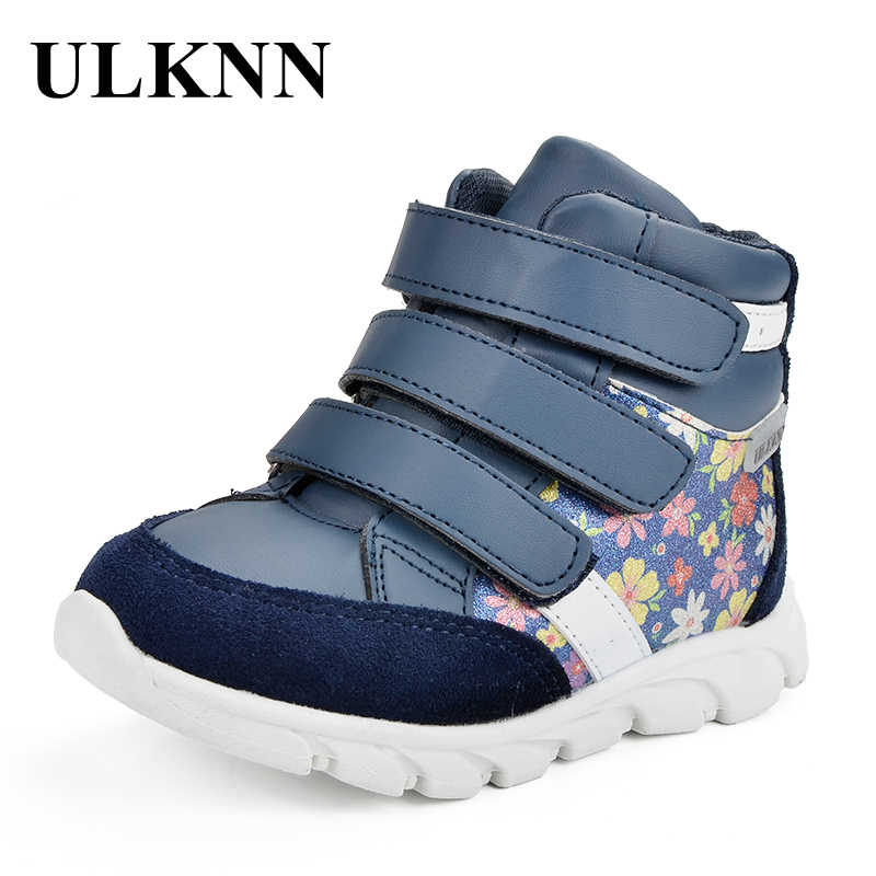 ULKNN Caçoa As Sapatilhas Das Meninas Casuais Crianças Sapatos Da Marca de Couro Genuíno Sapato Sneaker Moda Confortável Impressão Tecido Macio Ao Ar Livre