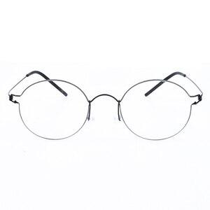 Image 2 - Hand made Titanium Vintage Optical Prescription Round Glasses Frame Lightweight Korean Style Retro Oculos de Grau for Men Women