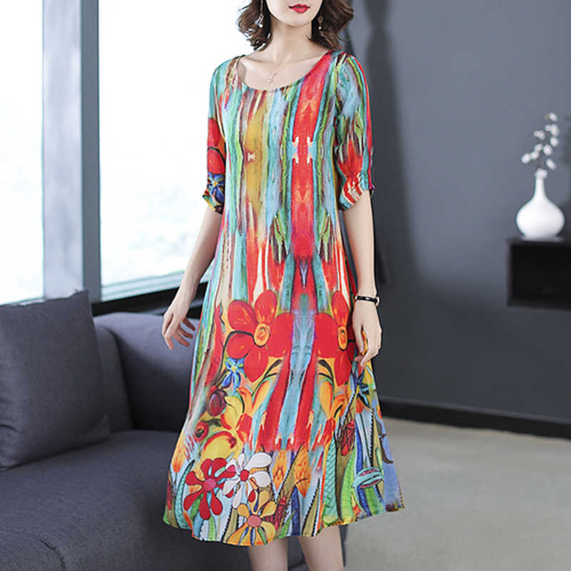 31122871e08a1 Fall 2018 womens clothing natural silk dresses size plus dress striped  summer elegant noble party dress robe midi print floral