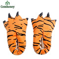 Animal Fleece Children Slippers Winter Family Matching Outfits Father Mother Baby Home Slippers Tiger Claws Indoor Shoes