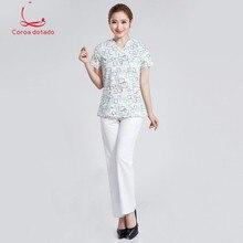 Korean design and color pure cotton nurse clothing summer new fashion beauty hospital uniform clinic slim front desk