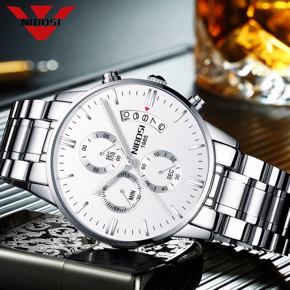 NIBOSI hombres blancos reloj de marca de lujo militar reloj deportivo reloj caja limpia paño reloj herramienta de ajuste instrucción inglés