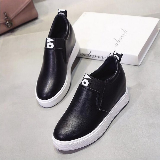 2017 Fashion brand Spring Women high wedge casual shoes Female Increased Height Shoes Woman Platform Loafers Canvas Single Shoes