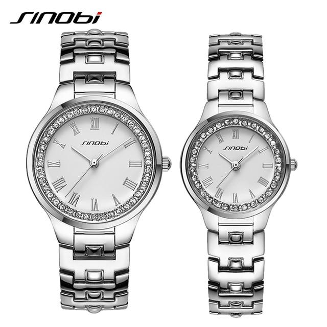 SINOBI Original Crystal Rhinestone Watches For Couples Leisure Vogue Silver Woman Wristwatch Wholesale Price Horloges Mannen