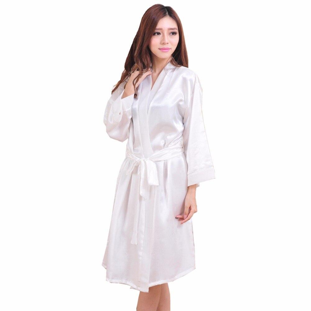 White Summer Womens Kimono Robe Bathrobe Sleepwear New chinese Female Faux Silk Bath Gown Nightgown Mujer Pijama One Size 001