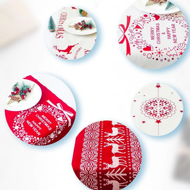 Merry Christmas Vine.Classic Christmas Table Runner Reindeer Merry Christmas Vine