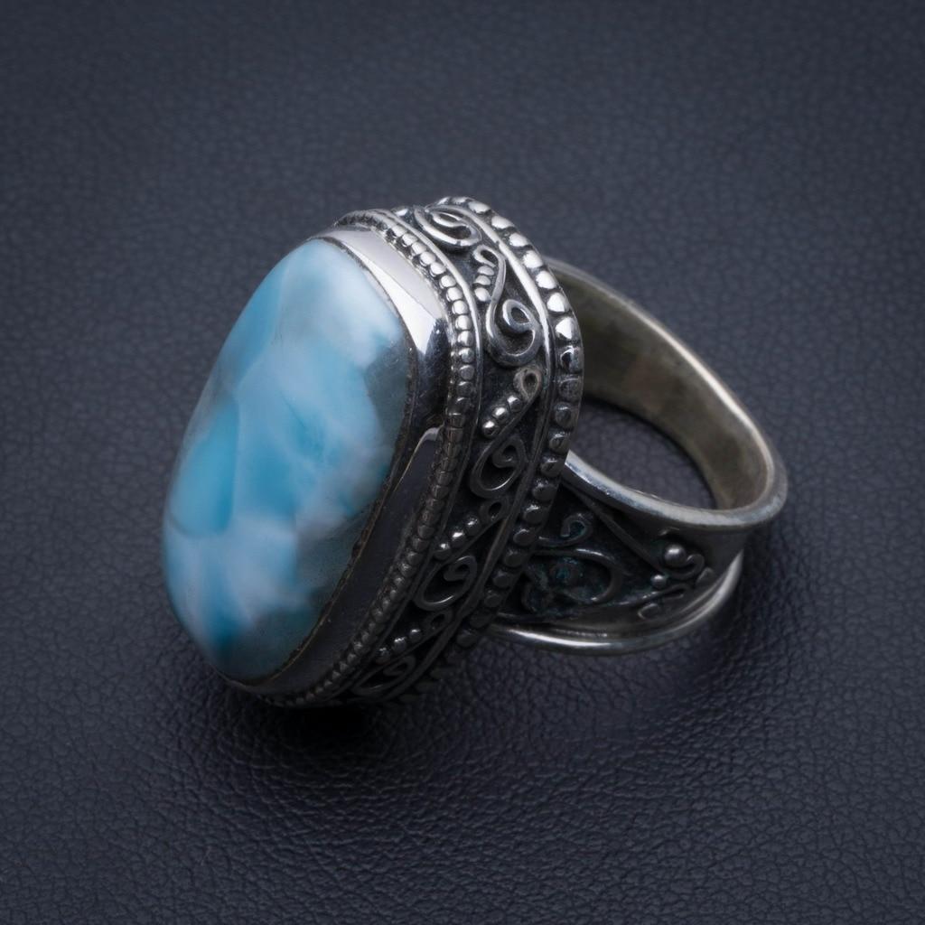 Natural Caribbean Larimar Vintage 925 Sterling Silver Ring, US Size 6 R3383Natural Caribbean Larimar Vintage 925 Sterling Silver Ring, US Size 6 R3383