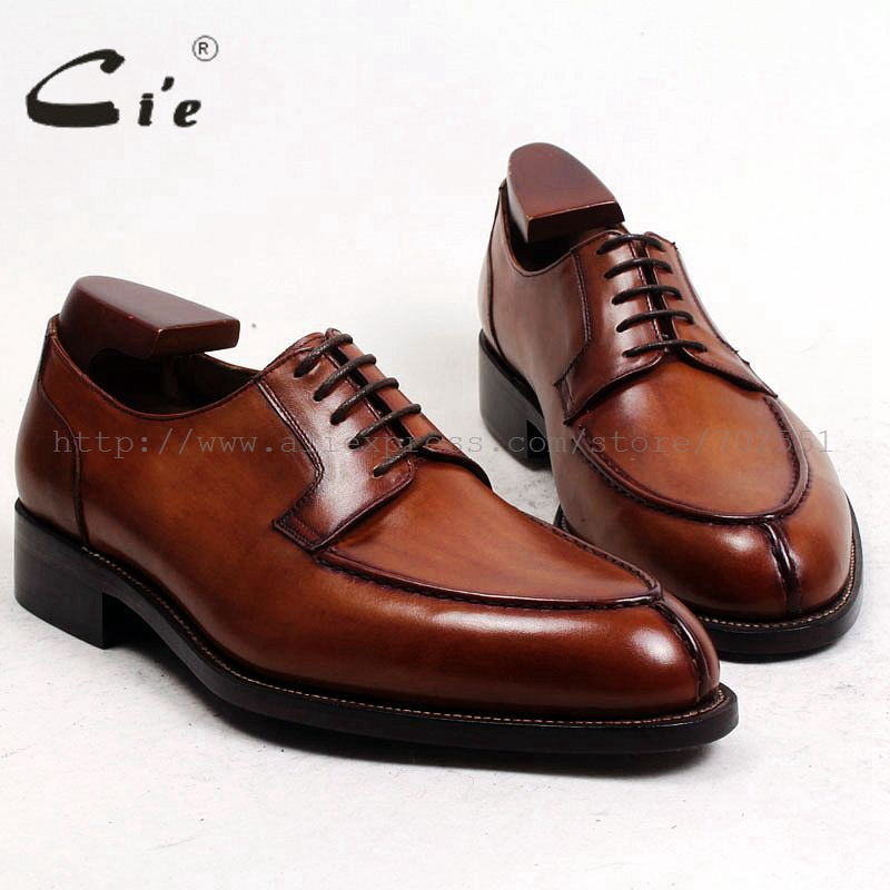 cie Free Shipping Bespoke Custom Handmade Genuine Calf Leather Outsole Breathable Lacing Men's Derby shoe Brown Goodyear No.D143 cie free shipping handmade tassels buckle loafer brown white matching calf leather bottom outsole men shoe 3 crafts loafer66