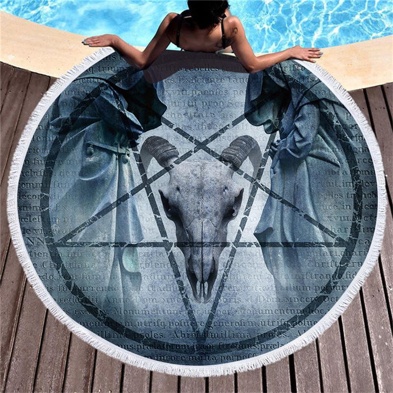 150cm Round Beach Towel with Tassels Horse Bohemia India Microfiber Thick Large Bath Towel for Adults Blanket Yoga Mats Tapestry