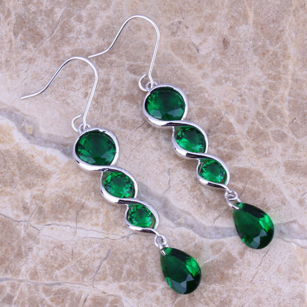 Gloring Green Cubic Zirconia 925 ezüst csepp fülbevaló nőknek - Divatékszer