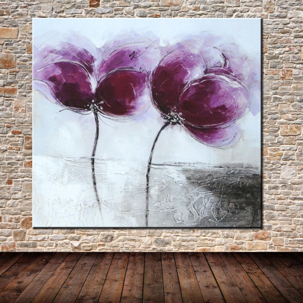 Konda Art Framed Handmade Purple Flower Oil Painting On: Popular Purple Flower Pictures-Buy Cheap Purple Flower