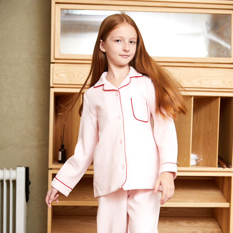 Autumn Winter Child Girls   Pajama     Set   Cotton 2 Pieces Sleepwear Casual Nightwear Pyjamas Long Sleeve Kids Shirt+Pants Home Wear