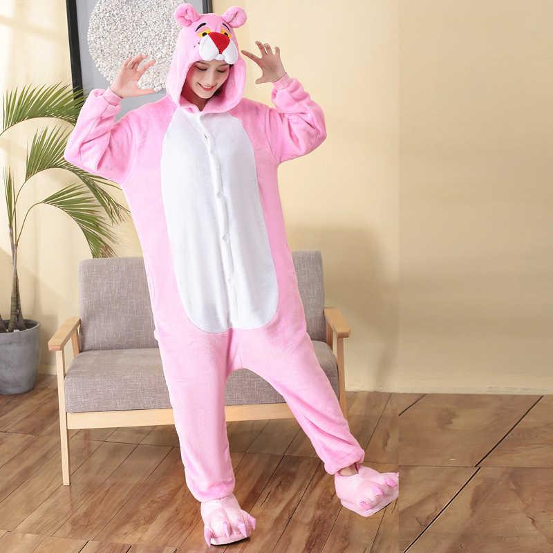 fb8e1de3753e Горячая мультфильм кигуруми Розовая пантера женщина комбинезон с капюшоном  Комбинезоны для взрослых цельные пижамы с длинным