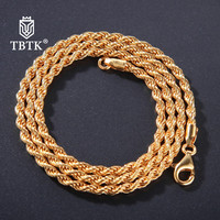 TBTK Promotion 3mm Width Gold Rope Chain Real Pure 925 Sterling Silver Necklace for Women Simple Punk Style Jewelry Man