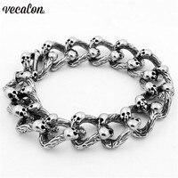 Vecalon Antique Stainless Steel Bracelet 22cm Big Silver Men S Full Skeleton Skull Bracelet Ghost Bangle