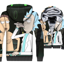 Scientist Rick Anime Mens Coat 2018 Fashion Winter Zip Up Hoodie Male Streetwear Men's Jacket Funny Rick And Morty Tracksuit Top cut and sew zip up hoodie jacket