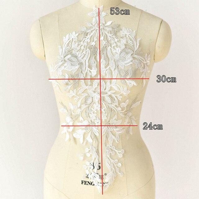 1 шт 53*30 см кружевная отделка свадебная ткань для костюма Декор шитье Белое Золото Кружева Аппликации ткани ремесла аксессуары