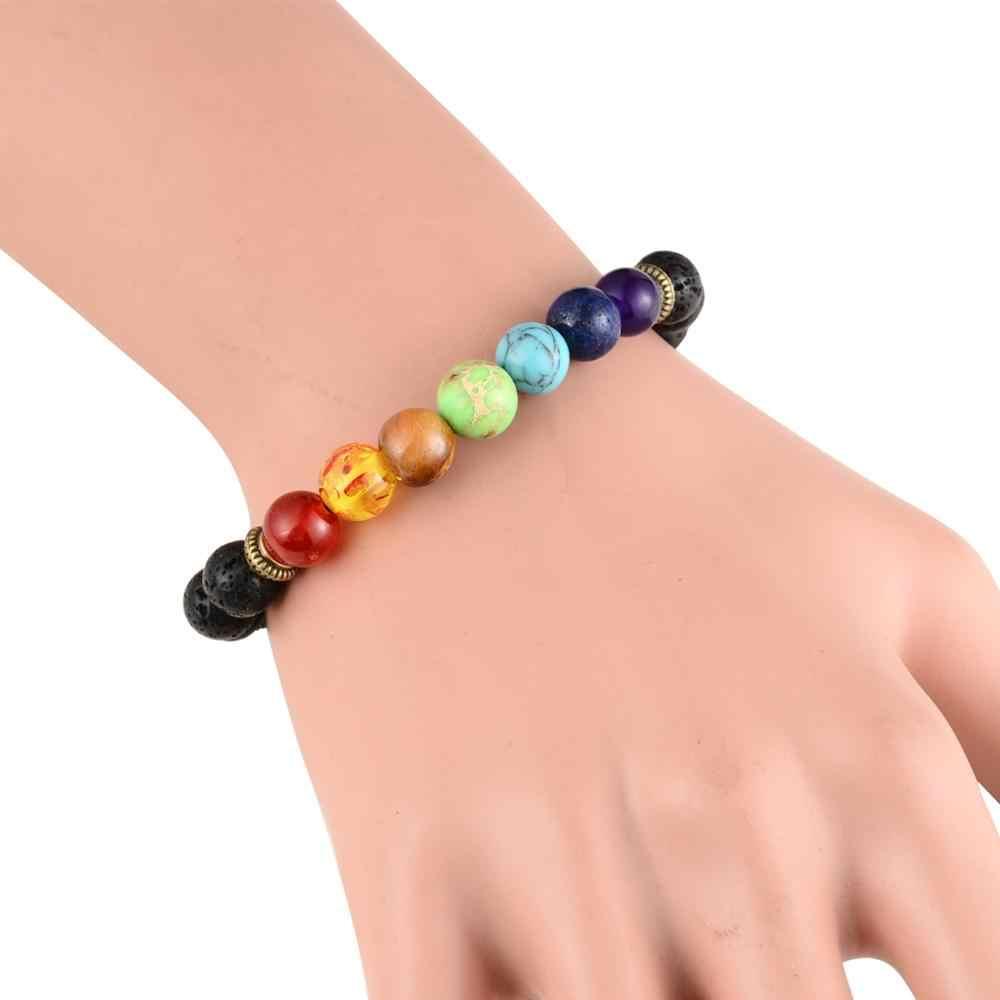 fd1e70e8c232b8 ... Lava Stone Oil Diffuser Bracelet 7 Chakra Adjustable Bracelet for Men  Women Healing Balance Reiki Prayer ...