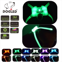 led dog harness multicolor 7 in 1 USB recharable multi function dog harness rainroof DIY dogharness large size