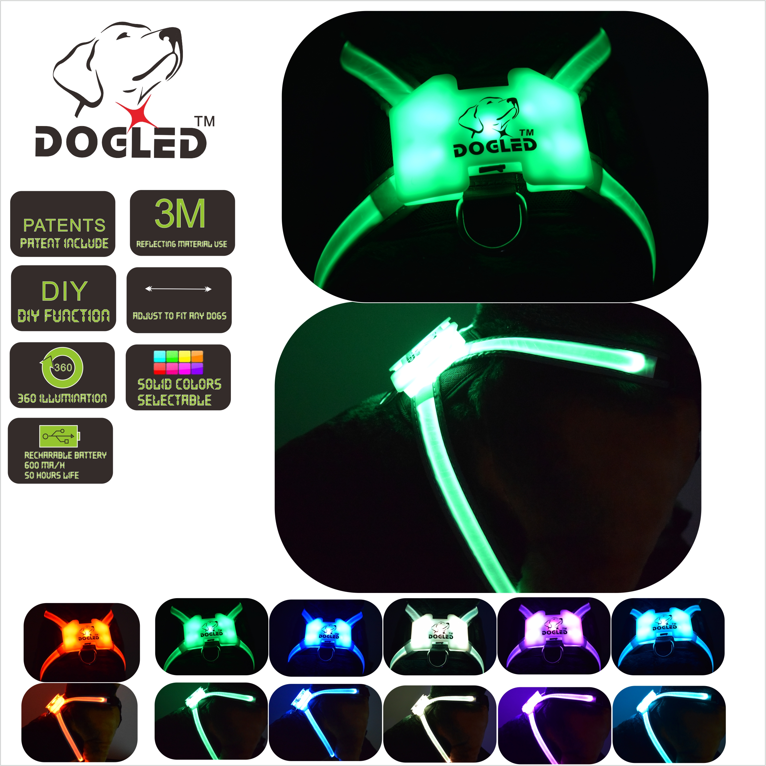 DOGLED inflatable collar light for dog Led Dog Harness Collar pet harness Pet Custom Puppy CatCollars
