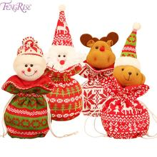 FENGRISE Knit Fabric Christmas Candy Bag 2019 Gift Bags Crismas bag Chrismas Decoration Presents Happy New Year 2020