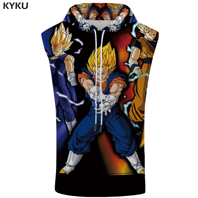 KYKU Dragon Ball Sleeveless Hoodie Goku Coat Lightning Stringer Revenge Shirts 3D Singlets Bodybuilding Mens Clothing 2018