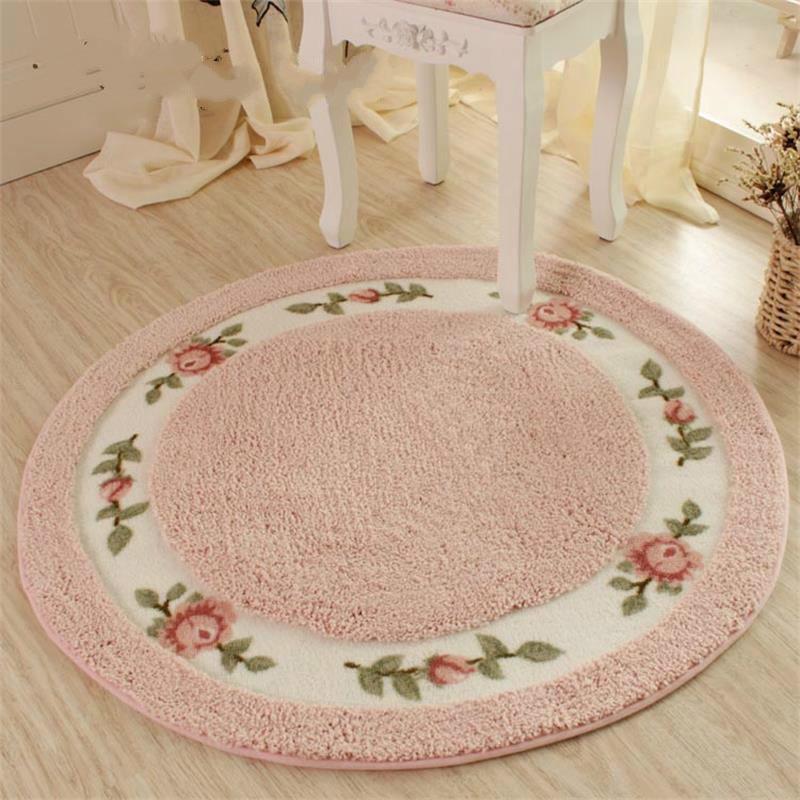 Diameter 90CM Garden Flower Door Mats Plush Round Swivel Floor Mats Modern Bathroom Rug Kids Play Mat / Carpet