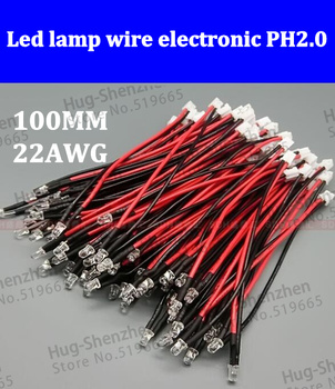 300pcs Led lamp wire electronic wire led  harness power supply with PH2.0 100MM 22AWG sillicon wire switch cable terminal line