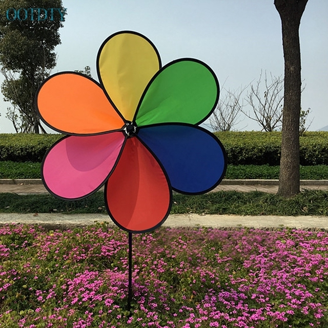 Bon 1PC Colorful Rainbow Dazy Flower Spinner Wind Windmill Garden Yard Outdoor  Decor #330