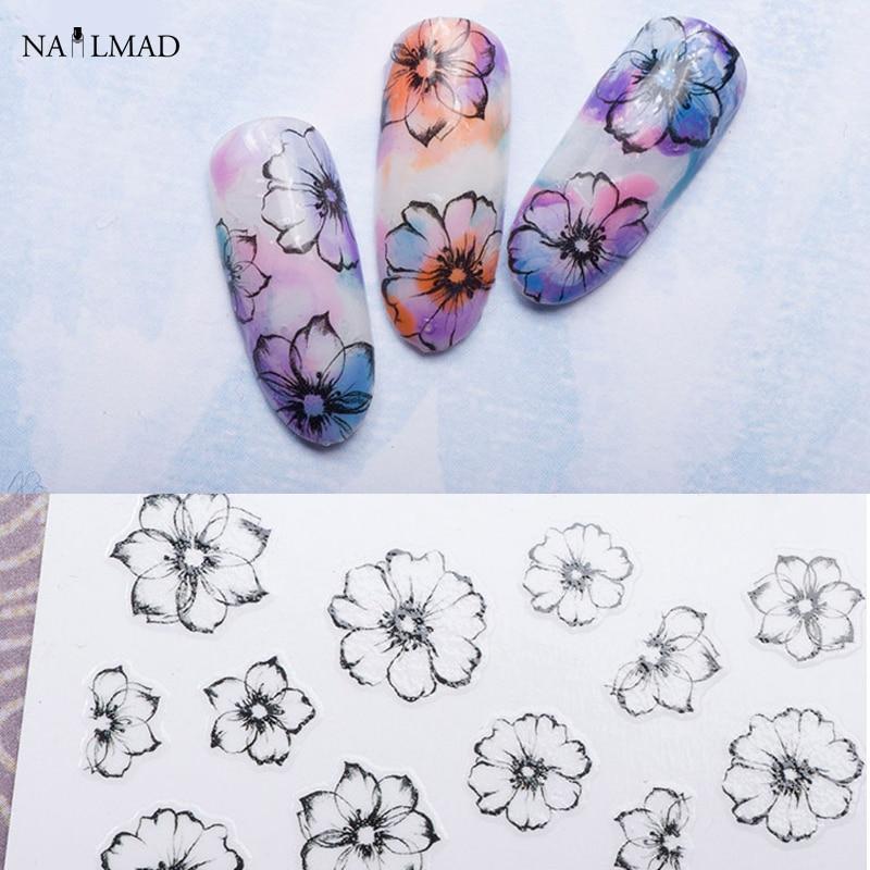 1 ark Akvarel 3D Nail Art Stickers Fading Flower Nail Sticker - Negle kunst - Foto 1