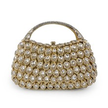 2017 Unique Luxury Metal Handle Evening Clutch Bag Women Diamond Handbag Rhinestones Purse Pochette Mariage Strass