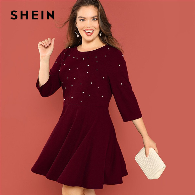 95d8ebcd92 SHEIN Pearl Beading High Waist Elegant Plus Size Women Burgundy A-Line Dress  Fit and