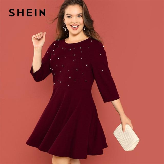 5423bf52f0c SHEIN Pearl Beading High Waist Elegant Plus Size Women Burgundy A-Line Dress  Fit and