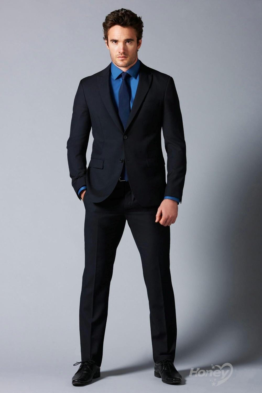 Vestimenta del novio negro trajes de boda collar un hombre